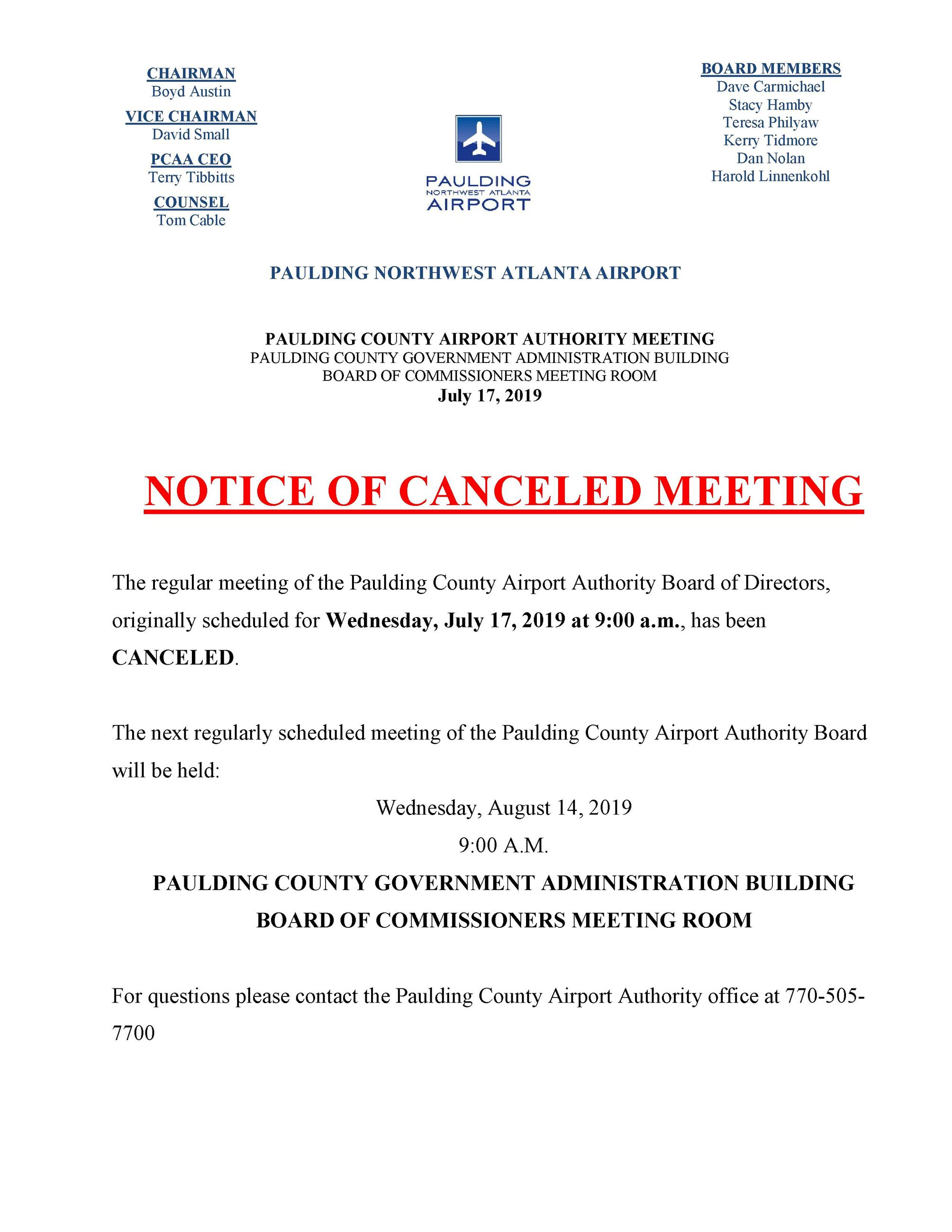07.17.19 PCAA Notice of Canceled Meeting