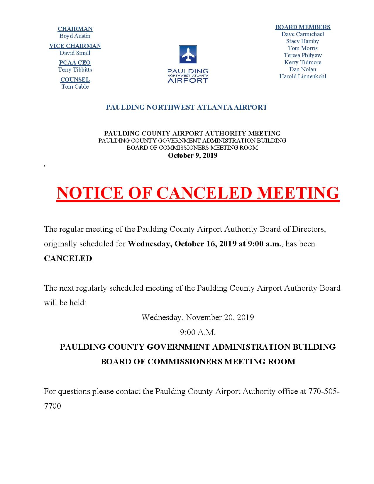 10.09.19 PCAA Notice of Canceled meeting