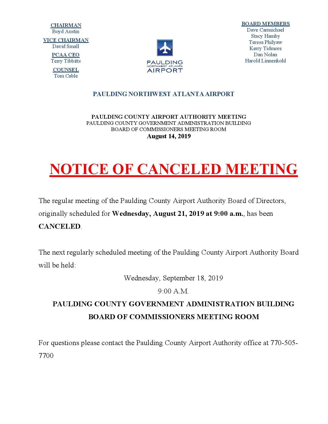 08.14.19 PCAA Notice of Canceled meeting